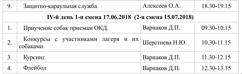 Расписание занятий летнего кинологического лагеря